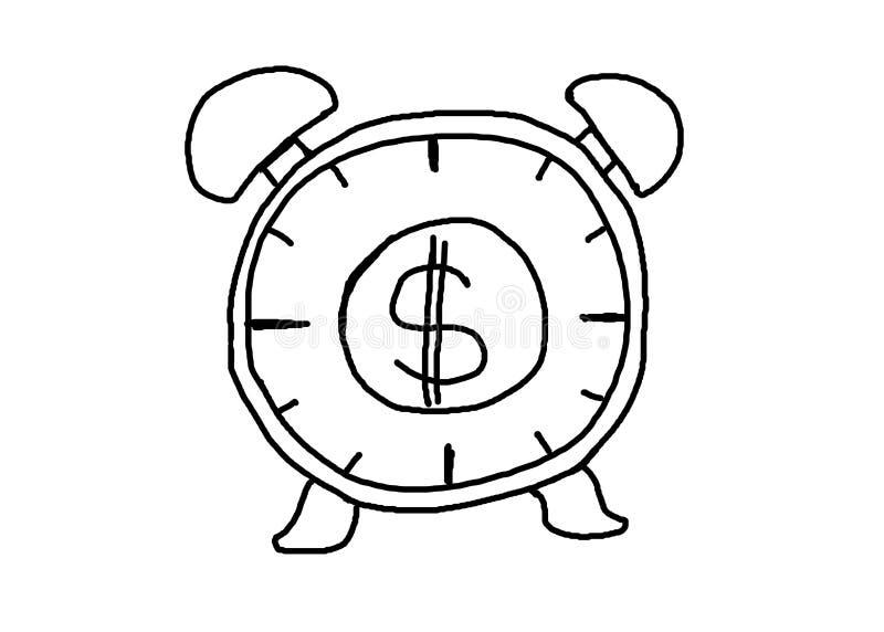 Sveglia disegnata a mano con l'idea del grafico e dei soldi per l'affare c illustrazione di stock