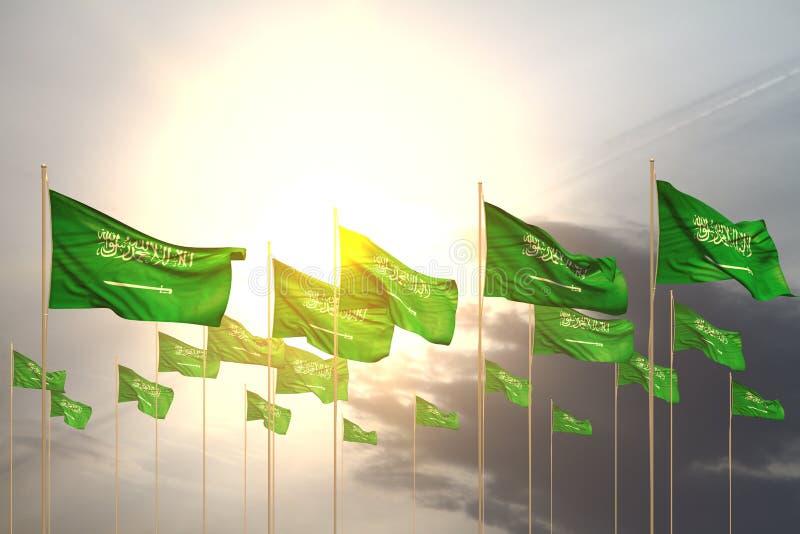 Sveglio molte bandiere dell'Arabia Saudita in una fila sul tramonto con spazio vuoto per il contenuto - qualsiasi illustrazione d illustrazione di stock