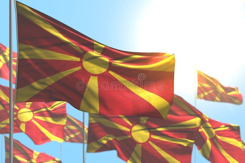 Sveglio molte bandiere della Macedonia stanno ondeggiando contro l'immagine del cielo blu con il fuoco molle - tutta l'illustrazi illustrazione vettoriale