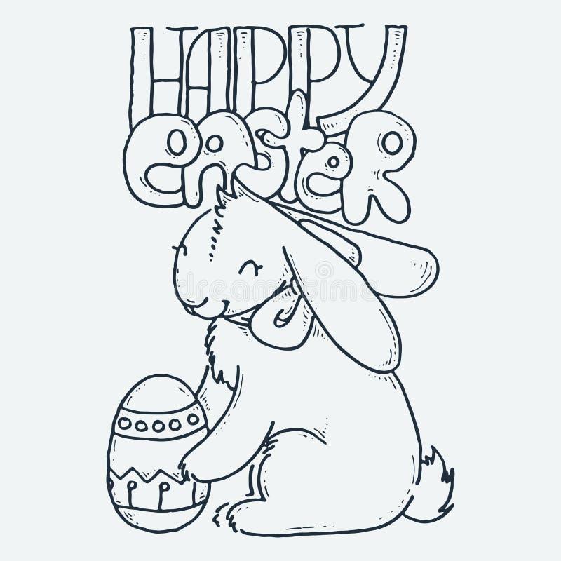 Sveglio poco coniglio con l'uovo, illustrazione disegnata a mano di vettore del fumetto Sveglio per le pagine di coloritura del b illustrazione di stock