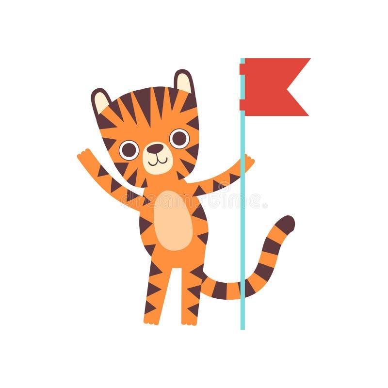 Sveglio poco Tiger Standing con la bandiera rossa, illustrazione adorabile di vettore del personaggio dei cartoni animati dell'an illustrazione vettoriale