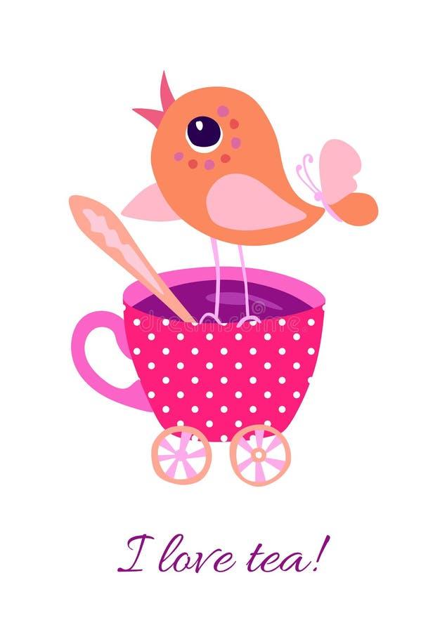 """Sveglio poco uccello sul tazza da the e testo """"amo il tè! """" Tempo del t? Progettazione di carta graziosa illustrazione di stock"""