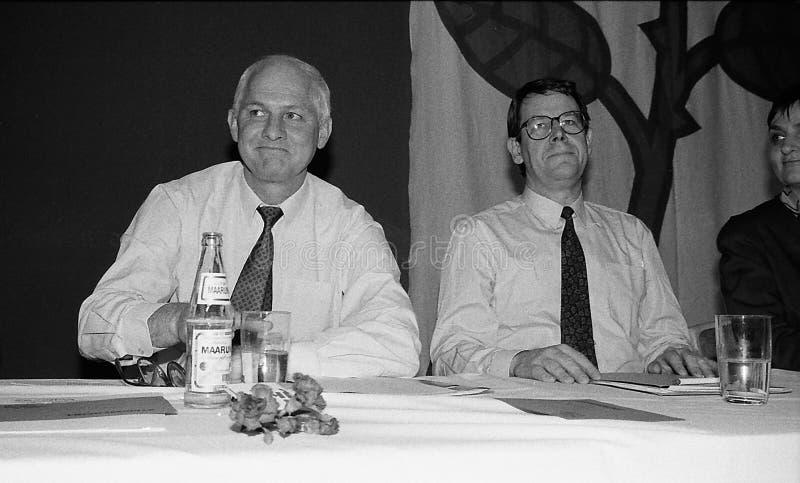 SVEND AUKEN (LEFT) POUL NYRUP RASMUSSEN(R). VEJLE / DENMARK/ 11 April 1992_ (Danish historical images of social democrat party leadership conest )Scoail democrat royalty free stock photo