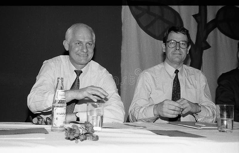 SVEND AUKEN (LEFT) POUL NYRUP RASMUSSEN(R). VEJLE / DENMARK/ 11 April 1992_ (Danish historical images of social democrat party leadership conest )Scoail democrat royalty free stock photography