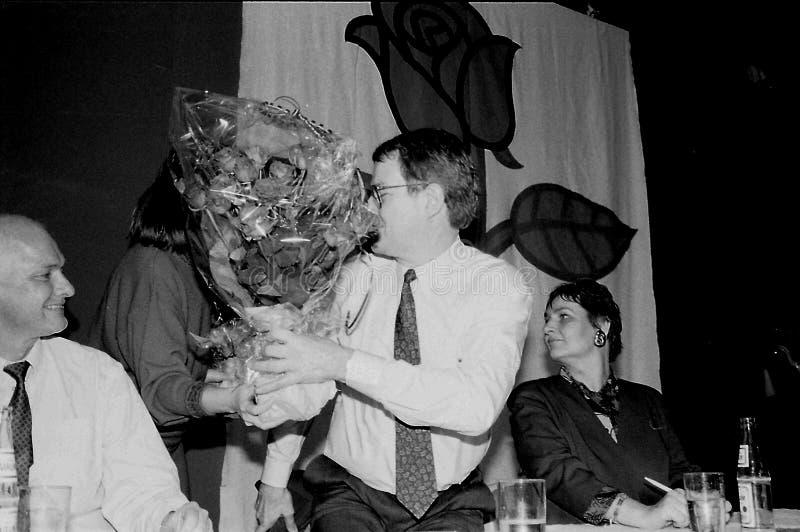 SVEND AUKEN (LEFT) POUL NYRUP RASMUSSEN(R). VEJLE / DENMARK/ 11 April 1992_ (Danish historical images of social democrat party leadership conest )Scoail democrat royalty free stock image