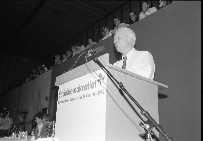 SVEND AUKEN (LEFT) POUL NYRUP RASMUSSEN(R). VEJLE / DENMARK/ 11 April 1992_ (Danish historical images of social democrat party leadership conest )Scoail democrat stock image