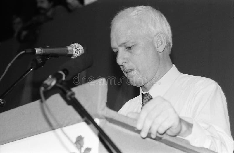 SVEND AUKEN (LEFT) POUL NYRUP RASMUSSEN(R). VEJLE / DENMARK/ 11 April 1992_ (Danish historical images of social democrat party leadership conest )Scoail democrat stock images