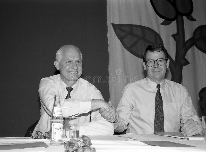 SVEND AUKEN (LEFT) POUL NYRUP RASMUSSEN(R). VEJLE / DENMARK/ 11 April 1992_ (Danish historical images of social democrat party leadership conest )Scoail democrat stock photo