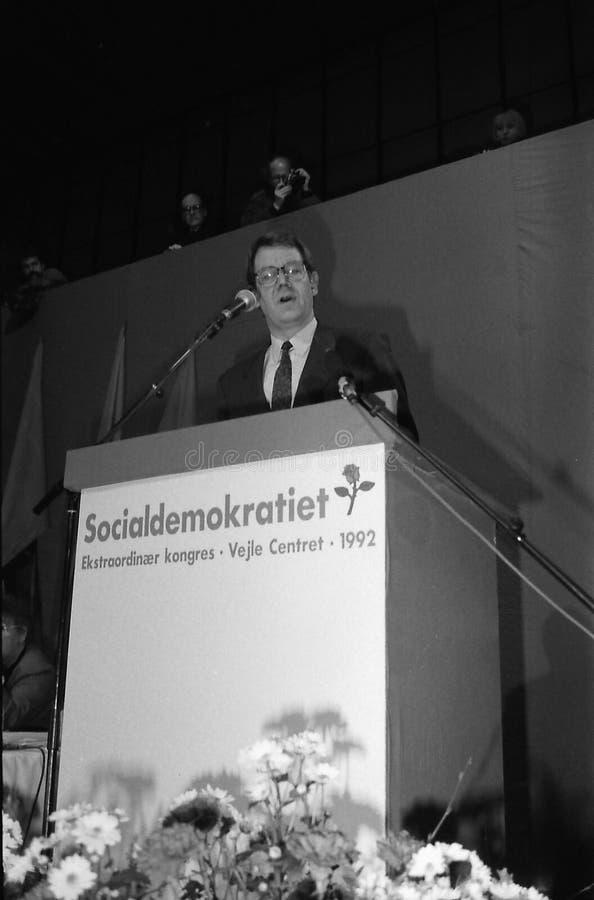 SVEND AUKEN (LEFT) POUL NYRUP RASMUSSEN(R). VEJLE / DENMARK/ 11 April 1992_ (Danish historical images of social democrat party leadership conest )Scoail democrat royalty free stock images
