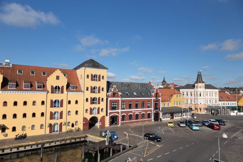 Svendborg港口视图 图库摄影