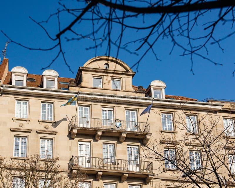 Svensk ambassad lyxiga byggande Frankrike fotografering för bildbyråer