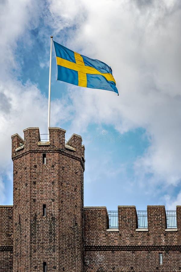 Svensk flagga för Karnan uppehälle arkivfoto