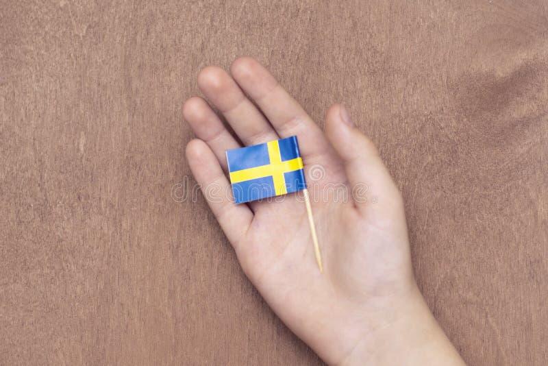 Svensk flagga i barns hand på träbakgrund 12 December 2018 arkivfoto