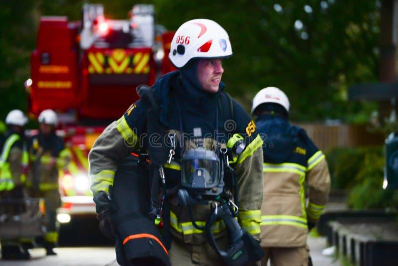 Svenska brandmän på plats royaltyfri bild