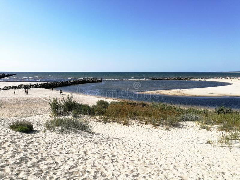 Sventoji river mouth at the Baltic sea beach. In the Sventoji town royalty free stock photos