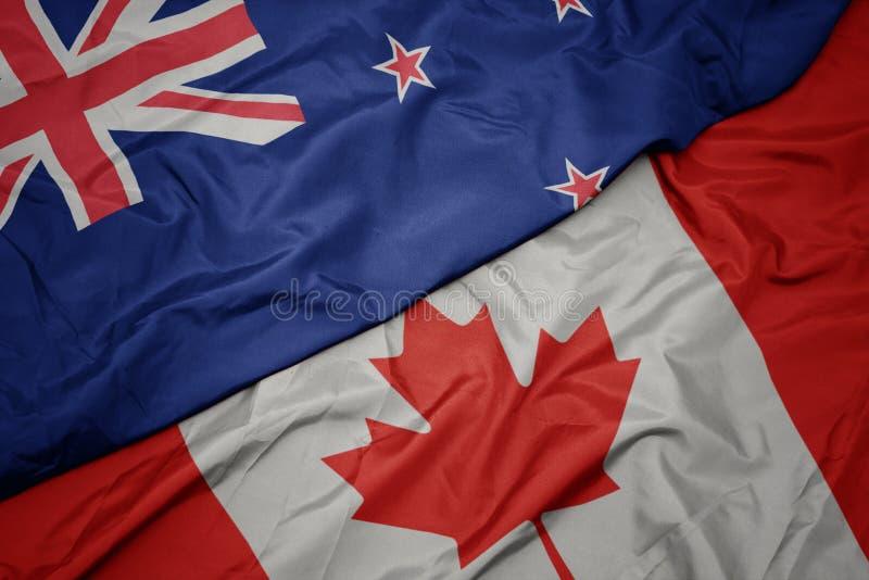 sventolando bandiere colorate del Canada e bandiera nazionale del nuovo zealand immagine stock libera da diritti