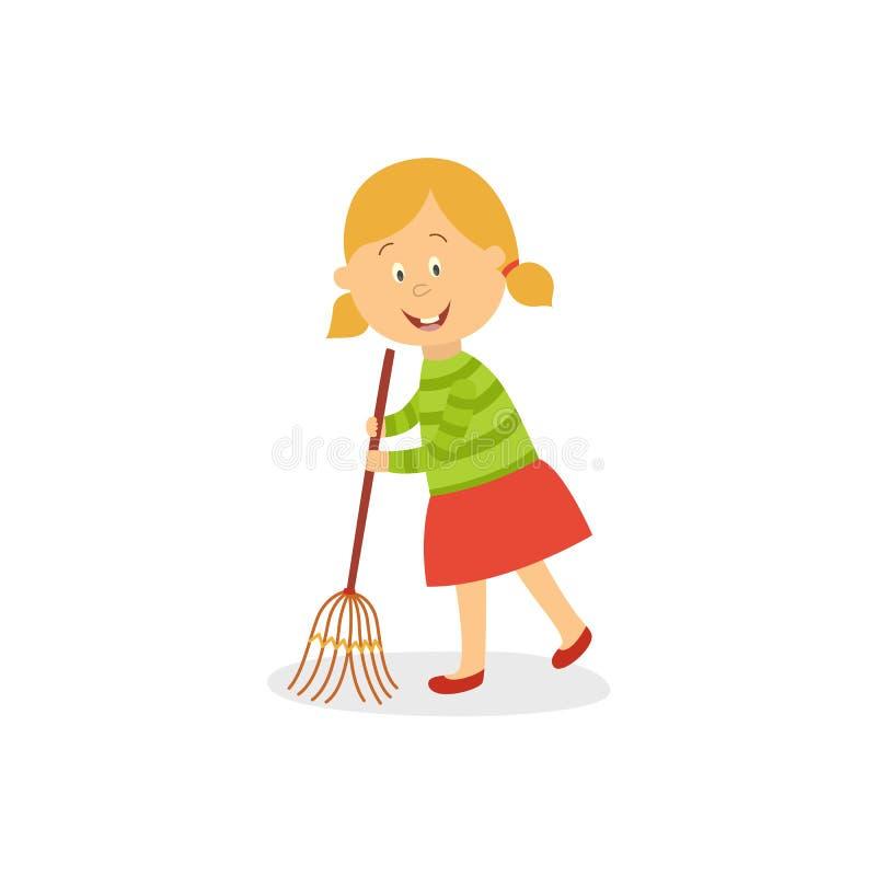 Svepande golv för rolig liten flicka med den stora kvasten stock illustrationer