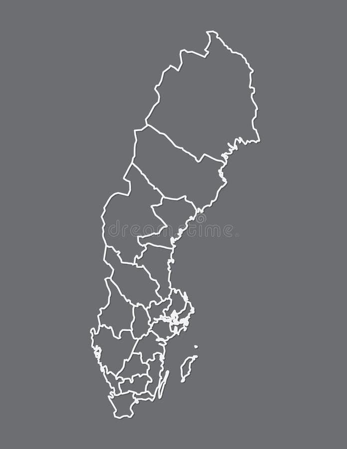 Sverige översikt med olika län genom att använda vita linjer på mörk bakgrundsvektor stock illustrationer