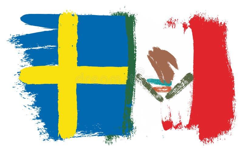Sverige flagga & hand för Mexico flaggavektor som målas med den rundade borsten stock illustrationer