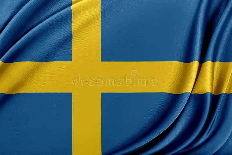 Sverige flagga med en glansig siden- textur royaltyfri illustrationer