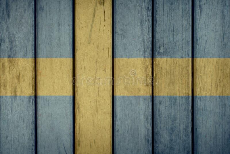 Sverige flaggaträstaket fotografering för bildbyråer