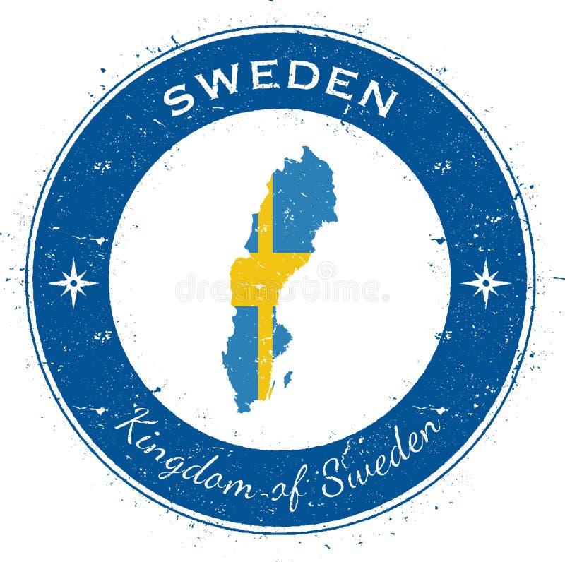 Sverige runt patriotiskt emblem royaltyfri illustrationer