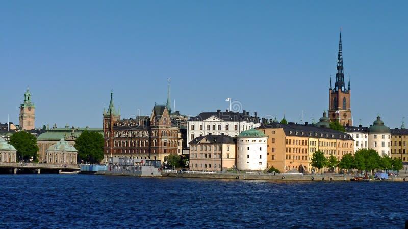 Sverige Stockholm, sikt av staden och dess slottar fotografering för bildbyråer