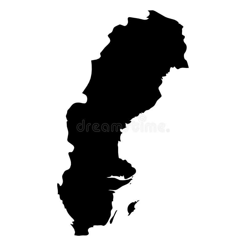 Sverige - svart konturöversikt för heltäckande av landsområde Enkel plan vektorillustration stock illustrationer