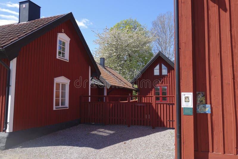 Sverige Trosa house rött traditionellt arkivfoto