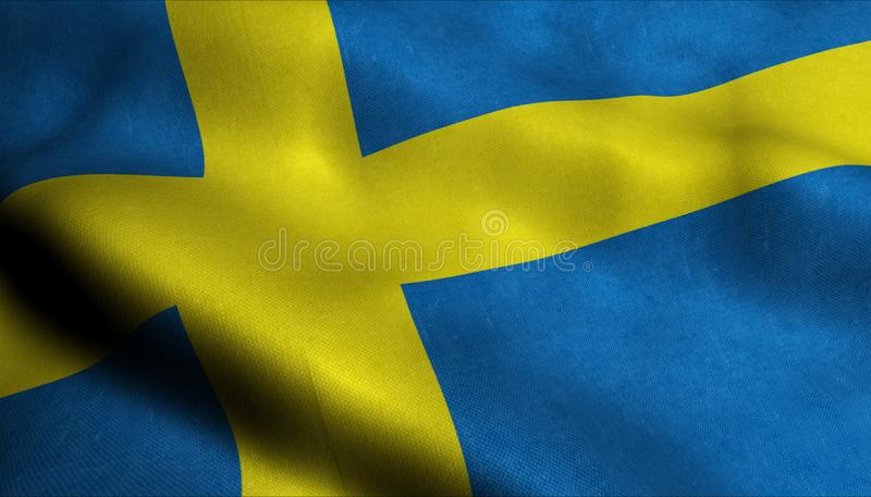 Sverige vinkande flagga i 3D stock illustrationer