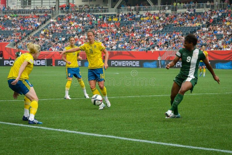 Sverige vs Nigeria landslag FIFA Women's världscup royaltyfri foto
