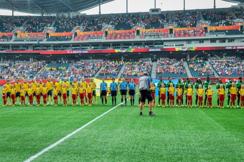 Sverige vs Nigeria landslag FIFA Women's världscup arkivfoto