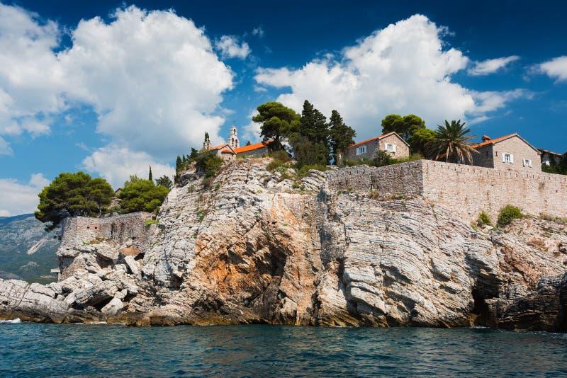Sveti斯蒂芬,黑山海岛  库存照片