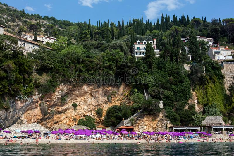 Sveti Jakov Beach i Dubrovnik fotografering för bildbyråer