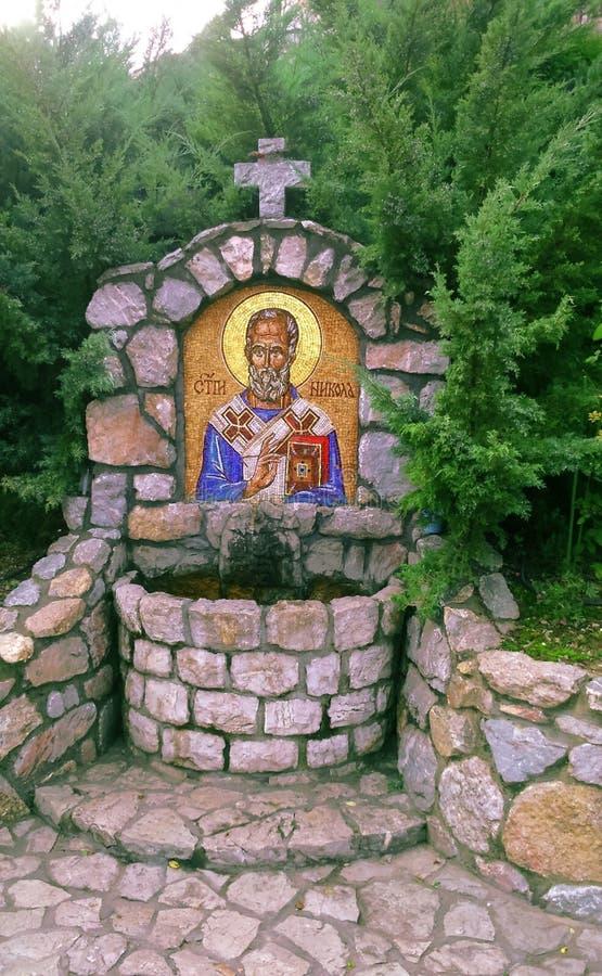 Sveti Nikola, antykwarska ortodoksyjna farba dzwonił ikonę, Serbia obraz royalty free
