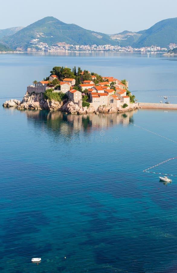 Sveti Stefan海运小岛(Montenegro)。 免版税图库摄影