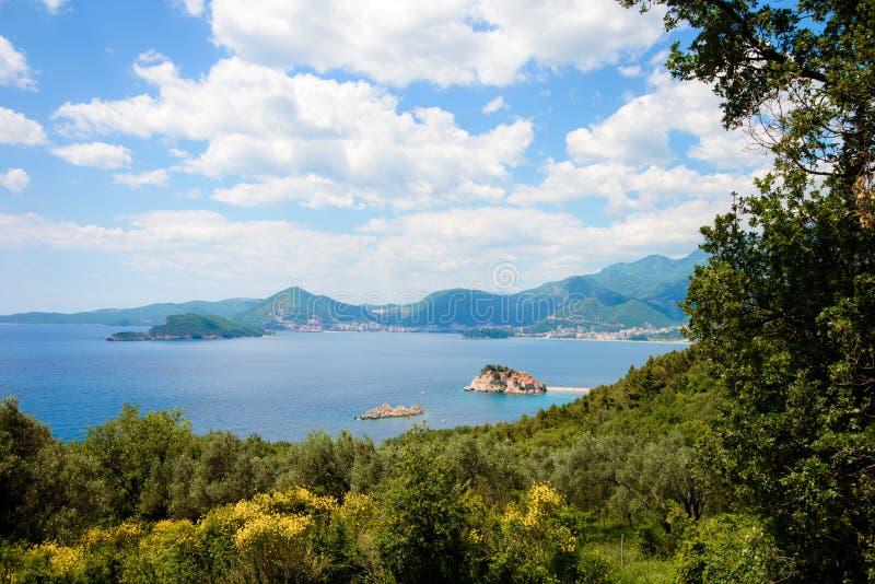 Sveti Stefan Адриатическое море стоковое изображение