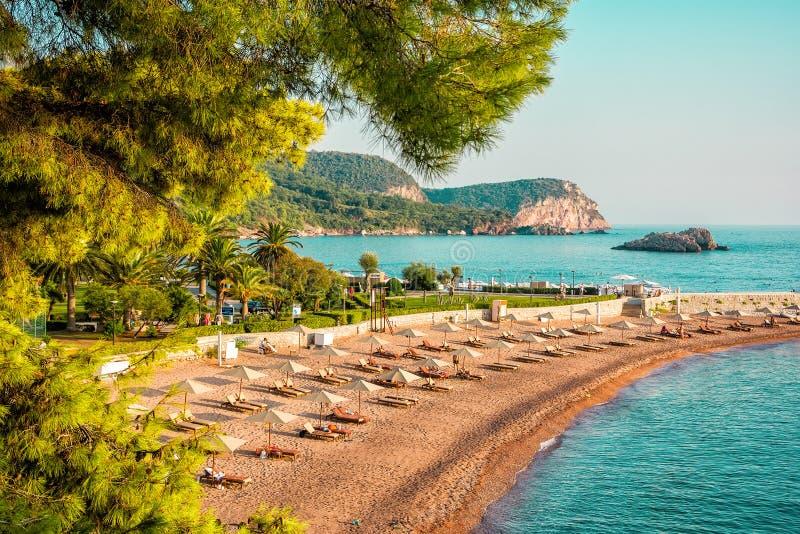 Sveti Stefan beach. In Montenegro. Travel resort background royalty free stock image