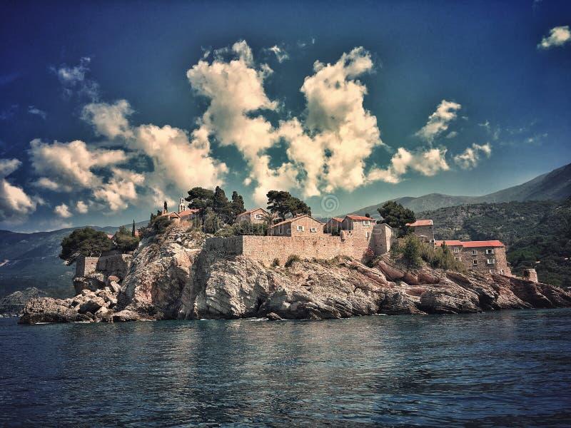 Sveti Stefan. Hotel complex on a small Adriatic Sea islet in Montenegro stock image