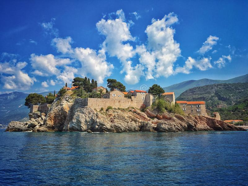 Sveti Stefan. Hotel complex on a small Adriatic Sea islet in Montenegro stock images