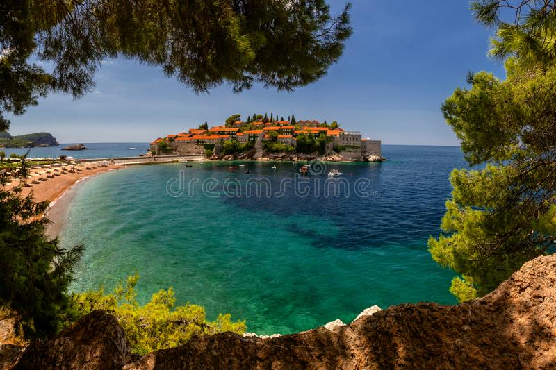 Sveti Stefan island in Budva in a beautiful summer day, Monteneg royalty free stock photos