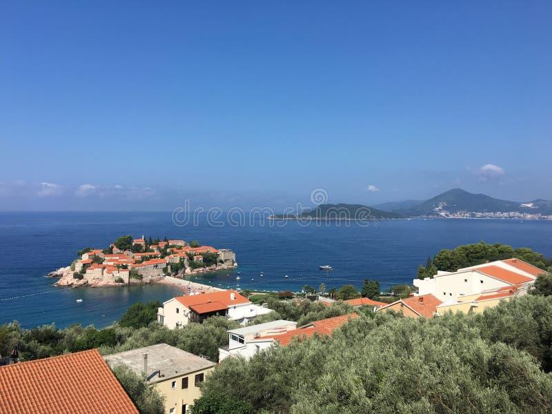 Sveti stefan island in budva in a beautiful summer day montenegro stock image