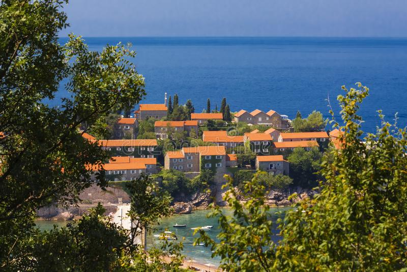 Sveti Stefan island in Budva in a beautiful summer day, Montenegro. Adriatic sea, Montenegro, Europe. Beautiful world of Mediterra royalty free stock images