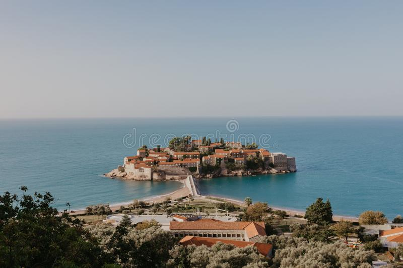 Sveti Stefan island in Budva in a beautiful summer day, Montenegro - Image stock photos