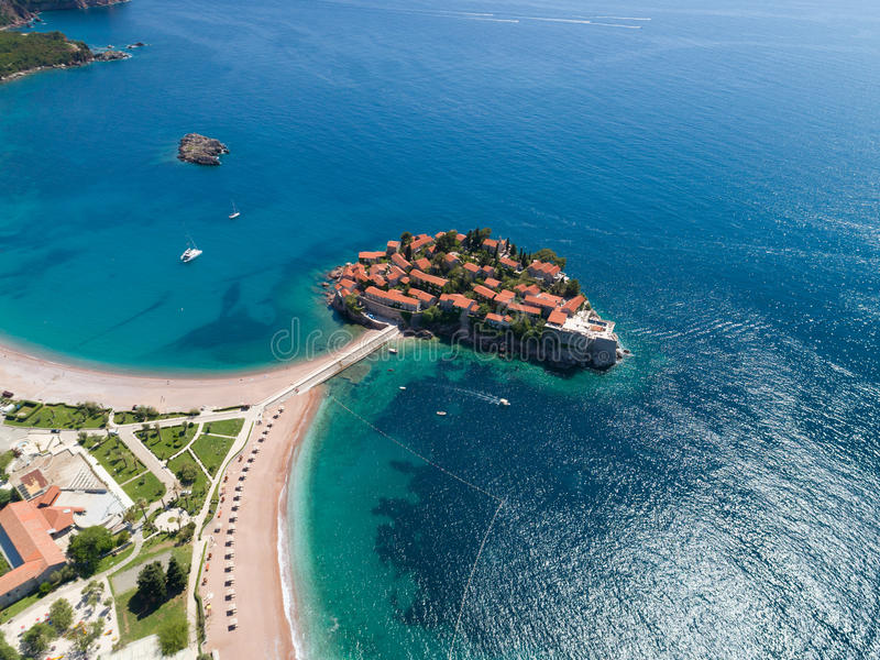 Sveti Stefan island in Budva, Montenegro. Aerial stock photography
