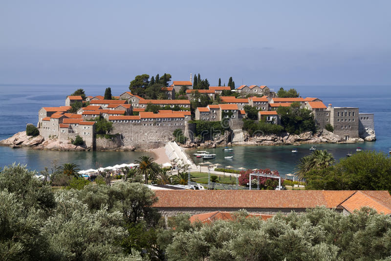 Sveti Stefan Island City. Sveti Stefan is a small islet and hotel resort in Montenegro, approximately 6 kilometres (3.7 mi) southeast of Budva stock photography