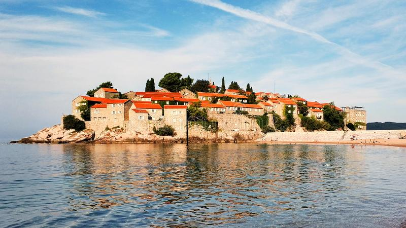 Sveti Stefan Island City in Adriatic Sea. Budva, Western Montenegro. Mobile photography royalty free stock image