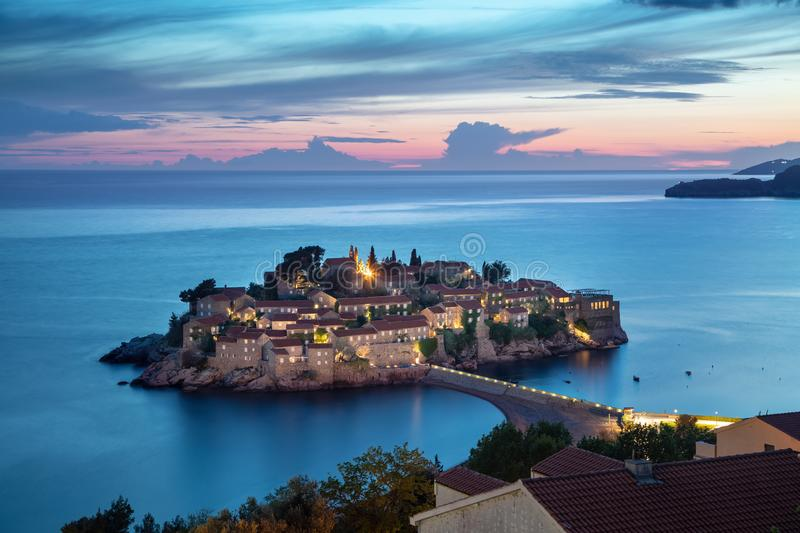 Sveti Stefan island at dusk, Montenegro royalty free stock photos