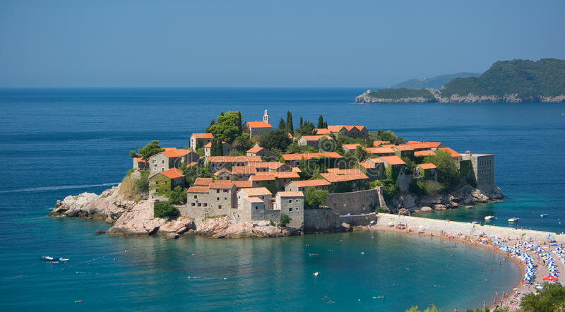 Sveti Stefan Island, Montenegro. Saint stefan island, montenegro. View of the beach royalty free stock image