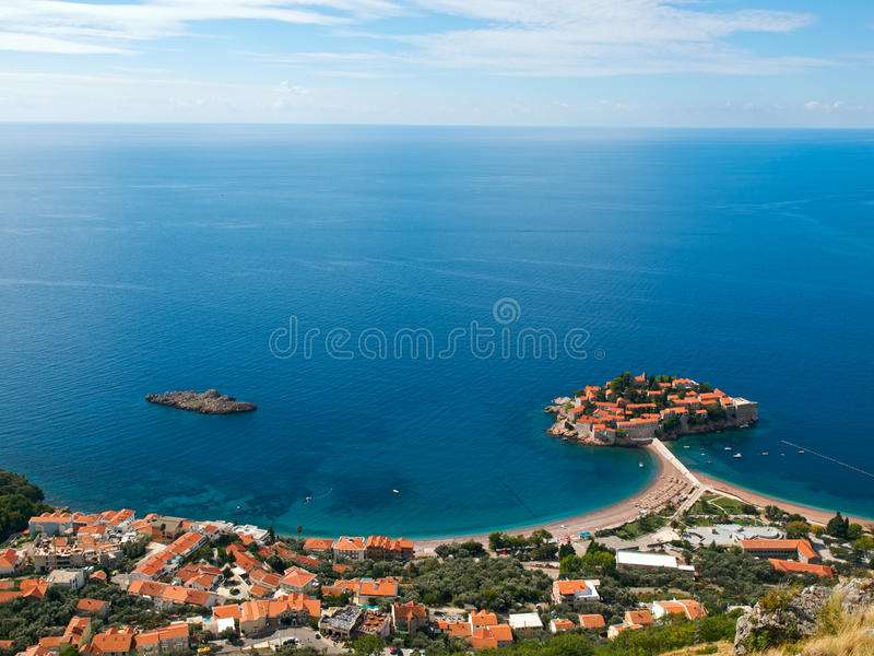 Download Sveti-Stefan Island In Montenegro From Above Stock Photo - Image: 17401826